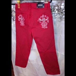 Luxe red rhinestone crop jeans size 29